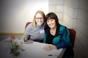 sally and I at Sara Groves conference -- huge line for Sara, a few for me!